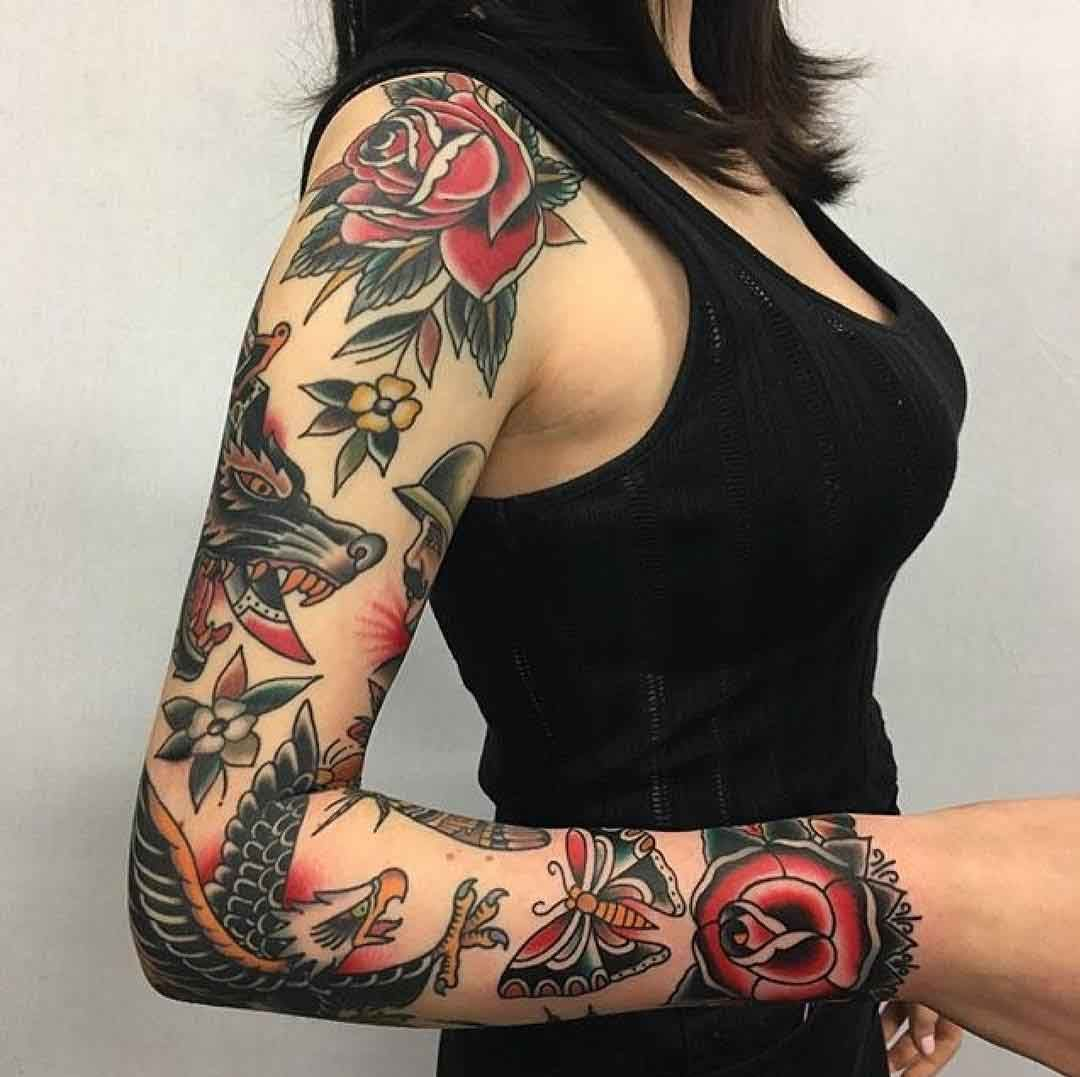 Traditional Tattoo Sleeve Designs, Ideas And Meaning
