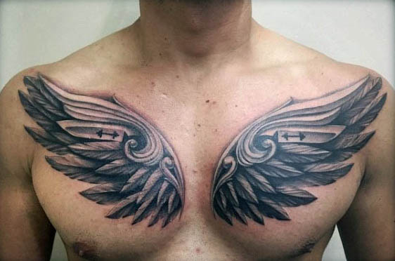 Wing Tattoos on Chest Designs, Ideas and Meaning