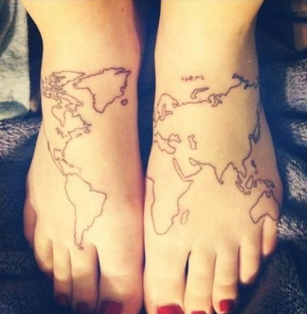 World map tattoo designs ideas and meaning tattoos for you world map tattoo foot gumiabroncs Image collections