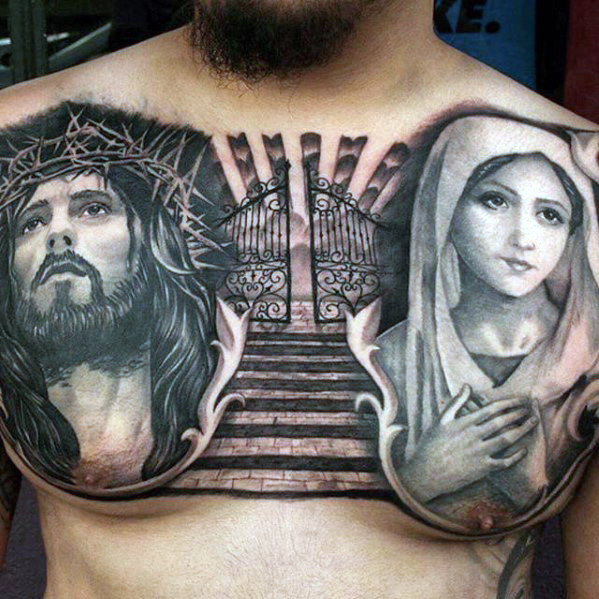 Religious Chest Tattoos Designs, Ideas And Meaning
