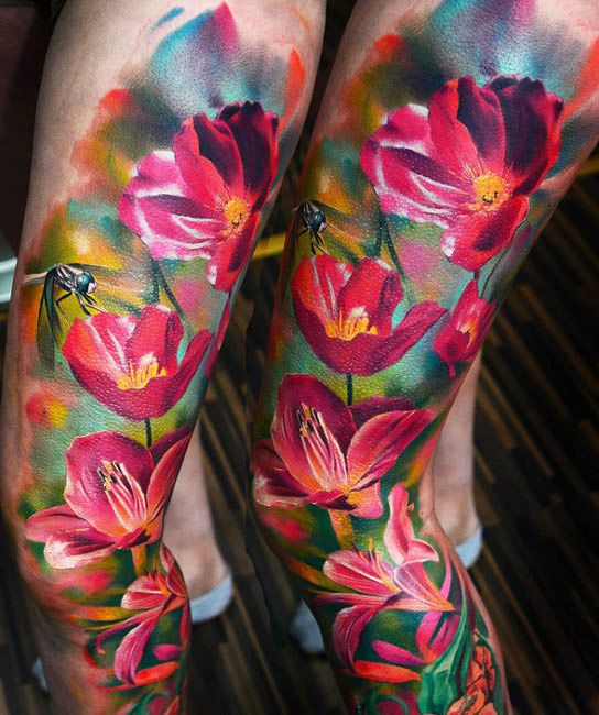 Realistic Flower Tattoos On The Right Forearm Tattoo: Photo Realism Tattoo Designs, Ideas And Meaning