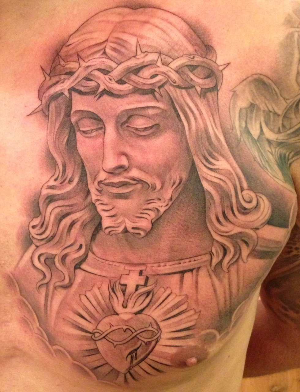 religious chest tattoos designs ideas and meaning tattoos for you. Black Bedroom Furniture Sets. Home Design Ideas
