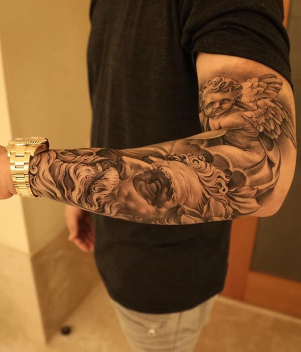 England Sleeve Tattoo Designs: Religious Sleeve Tattoos Designs, Ideas And Meaning