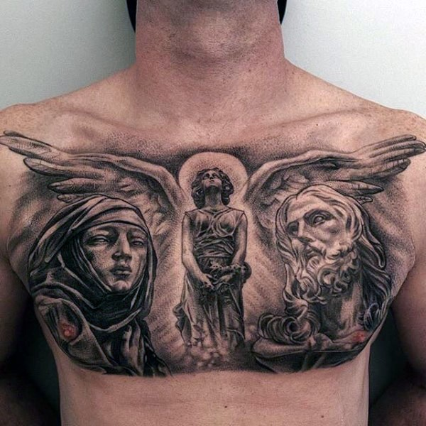 Religious chest tattoos designs ideas and meaning for Religious chest tattoos
