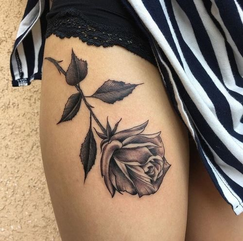 Rose Tattoo On Upper Thigh