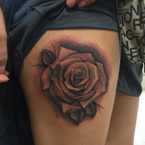 rose thigh tattoos designs ideas and meaning tattoos for you. Black Bedroom Furniture Sets. Home Design Ideas