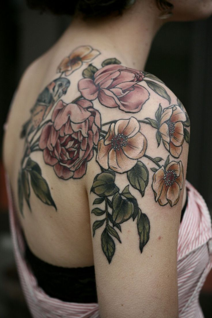 Shoulder flower tattoos designs ideas and meaning for Tattoo design in shoulder