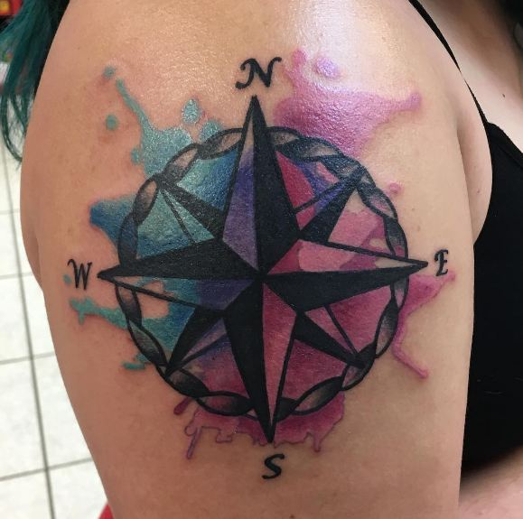 Watercolor Compass Tattoo Designs, Ideas and Meaning | Tattoos For You