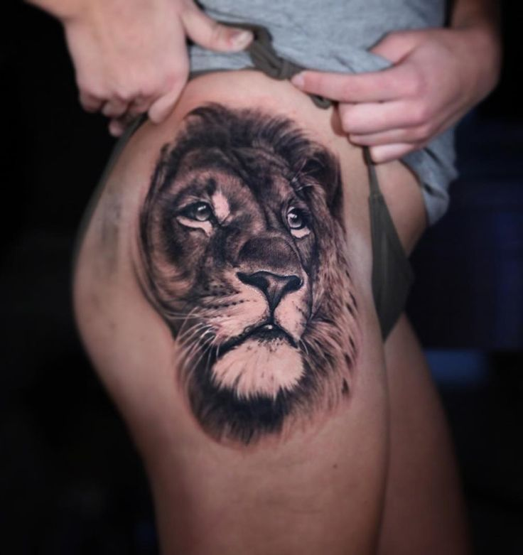 Lion Tattoo On Thigh Designs, Ideas and Meaning