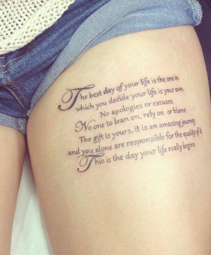 Thigh Quote Tattoos Designs, Ideas And Meaning