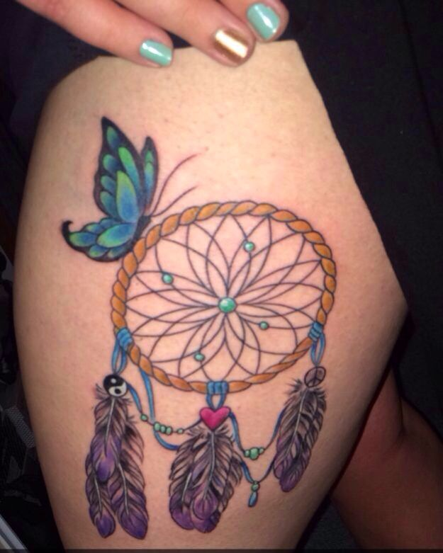 Dreamcatcher Tattoos Designs Ideas And Meaning: Dreamcatcher Thigh Tattoo Designs, Ideas And Meaning