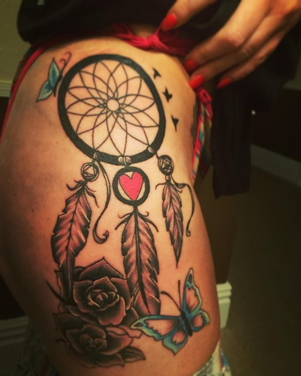 Dreamcatcher Thigh Tattoo Designs Ideas And Meaning Tattoos For You