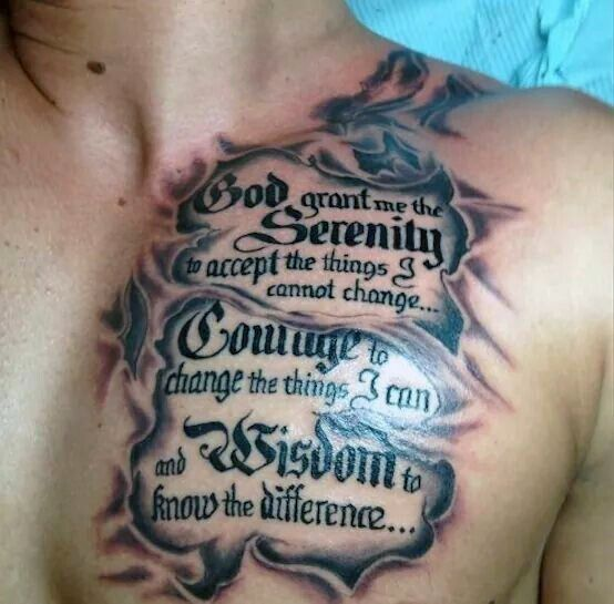 Chest Quote Tattoos Designs, Ideas And Meaning