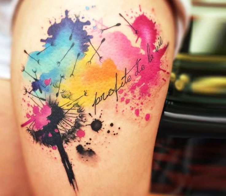 Dandelion Tattoos Designs Ideas And Meaning: Watercolor Dandelion Tattoo Designs, Ideas And Meaning