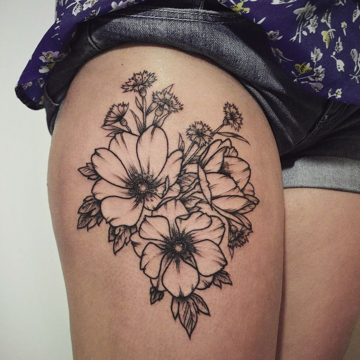 Upper Thigh Tattoo Templates: Floral Thigh Tattoo Designs, Ideas And Meaning