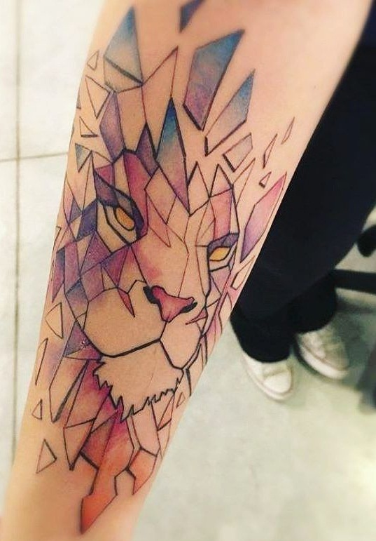watercolor lion tattoo designs  ideas and meaning