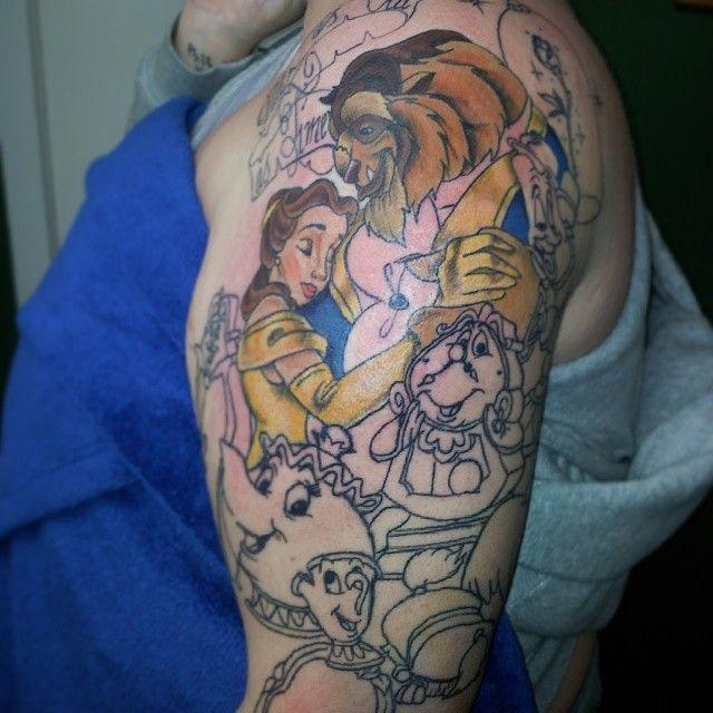 Disney tattoo sleeve designs ideas and meaning tattoos for Princesas disney tattoo