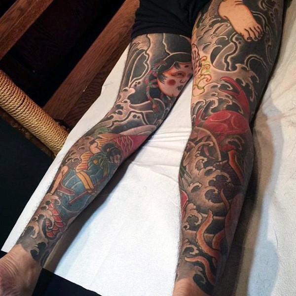 Japanese tattoos for men designs ideas and meaning for Male thigh tattoos