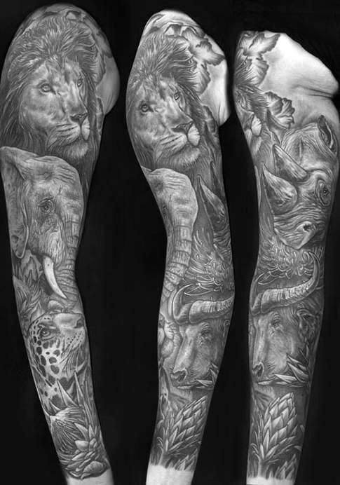 Black White Half Sleeve Tattoo Designs