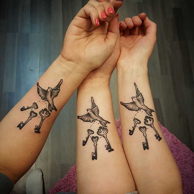 Matching sister tattoos designs ideas and meaning for Sister tattoos for 3
