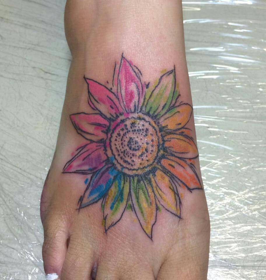 Sunflower Tattoo: Watercolor Sunflower Tattoo Designs, Ideas And Meaning