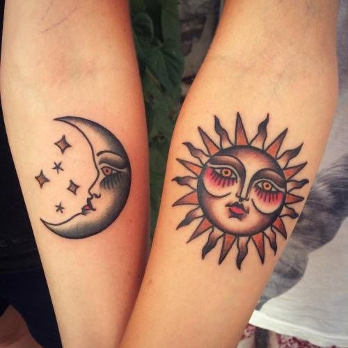 Sun And Moon Matching Tattoo Designs, Ideas And Meaning