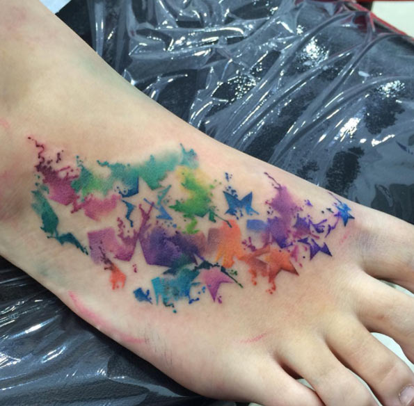 watercolor foot tattoo designs ideas and meaning