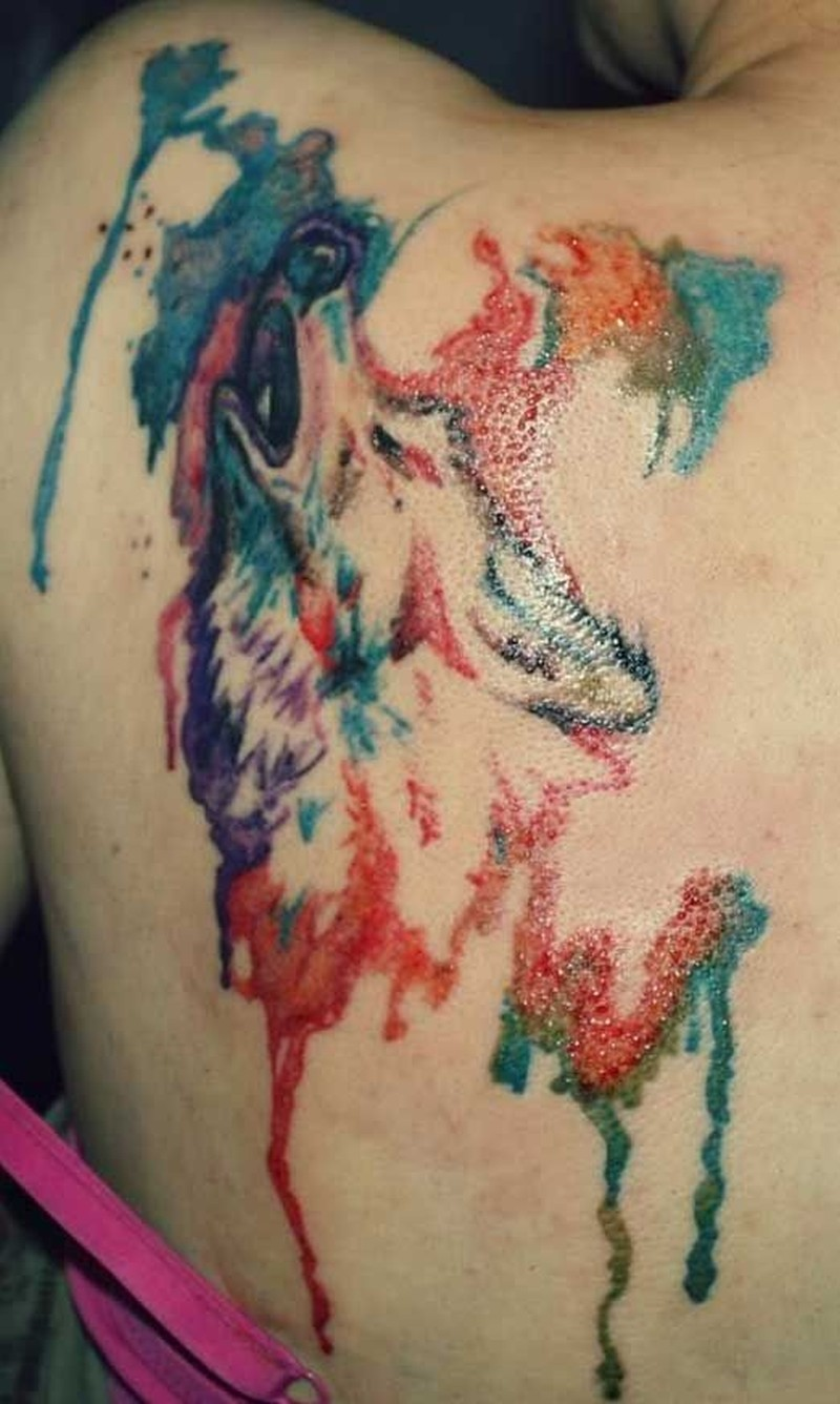watercolor wolf tattoo designs ideas and meaning tattoos for you. Black Bedroom Furniture Sets. Home Design Ideas