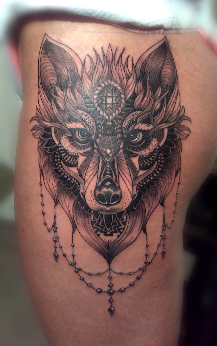 Wolf thigh tattoo designs ideas and meaning tattoos for you for Wolf head tattoos