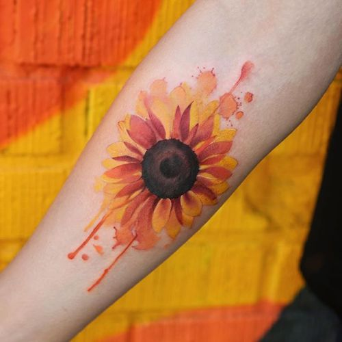 Watercolor Sunflower Tattoo Designs, Ideas and Meaning   Tattoos For You