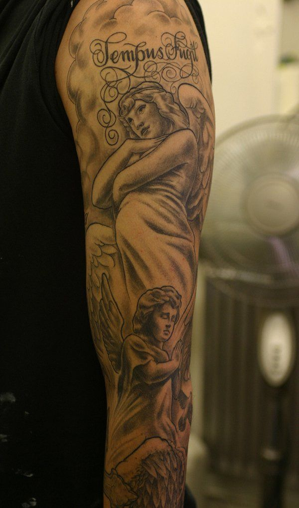 Angel Sleeve Tattoo Designs Ideas and Meaning Tattoos