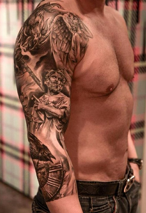 Angel Sleeve Tattoo Designs Ideas And Meaning Tattoos For You Looking for some sleeve tattoo ideas? angel sleeve tattoo designs ideas and