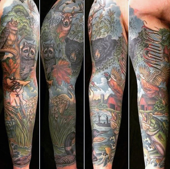 Hunting Sleeve Tattoo Designs, Ideas and Meaning | Tattoos ...