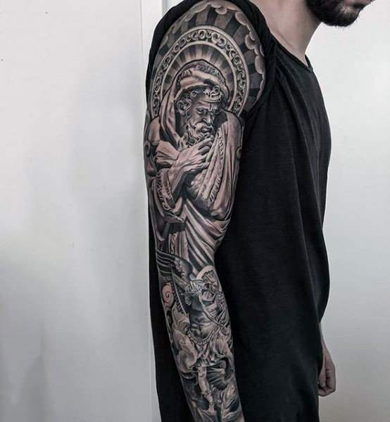 Black And Grey Landscape Tattoo