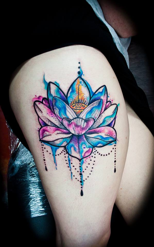 Watercolor thigh tattoos designs ideas and meaning for Colorful thigh tattoos